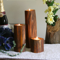 Hedgewood Osage Orange - Tree Branch Candle Holders - Wood Candle Holder for Wedding, Center Piece,  Rustic Decor
