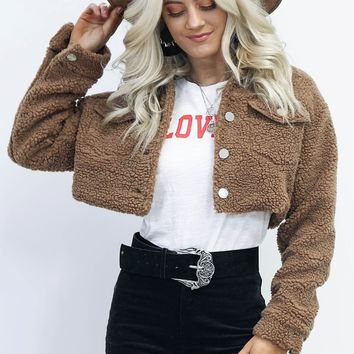 Going Gone Crop Teddy Button Jacket