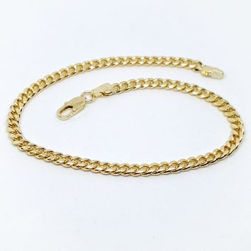 """1-0028-h1 Gold Plated Cuban Link anklet. 10"""""""