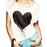White Heart Print Batwing Sleeve Loose T-shirt