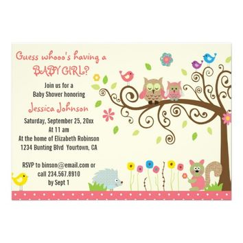 cute pink girl owls baby shower invitations