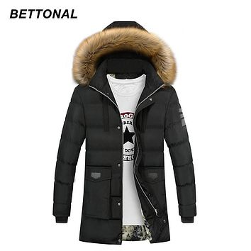 BETTONAL Winter Parka Men Jacket Coat Fur Collar Outerwear Fashion Hood Padded Quilted Warm Male Jackets Hooded Casual Wadde