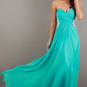 Full Length Strapless Sweetheart Gown by La Femme