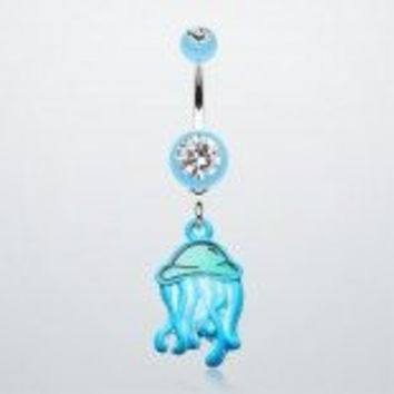 JELLY FISH NAVEL RING: BNB-248:BLUE:Available in 2 colors,Sold individually