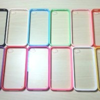 For Apple iPhone 4 / 4s Silicone Bumper & Clear Hard Plastic Case