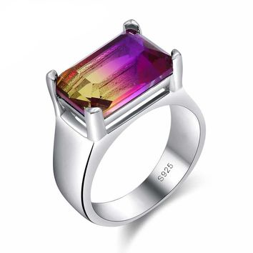 Square Wide Band 925 Sterling Silver Purple CZ Ring