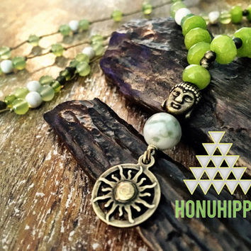 Sun Symbol Buddha necklace. Boho mala yoga jewelry