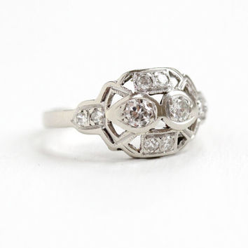 Antique 14k White Gold 1/2 CTW Diamond Filigree Ring - Size 6 Vintage Art Deco 1920s 1930s Open Metal Flower Cluster Fine Engagement Jewelry