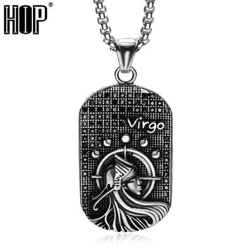HIP 12 Zodiac Virgo Pendant & Necklace AAA CZ Stone Inlay Solid Casting Titanium Steel Necklace for Men Women Punk Jewelry