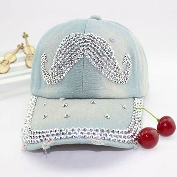 DCCKHY9 Women's fashion mustache rhinestone baseball cap Lady's casual denim hat Free shipping