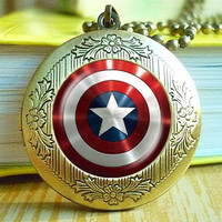 captain America locket necklace, captain America shield pendant necklace, Christmas gift