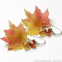 Falling Leaves Autumn Harvest Crystal by whimsydaisydesigns