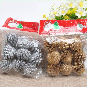 9pcs 4cm Wood Pinecone Balls For Home Office Party Decoration Ornament Christmas Tree Hanging Pine Cones