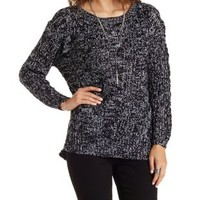 Black/White Marled Cable Knit Pullover Sweater by Charlotte Russe