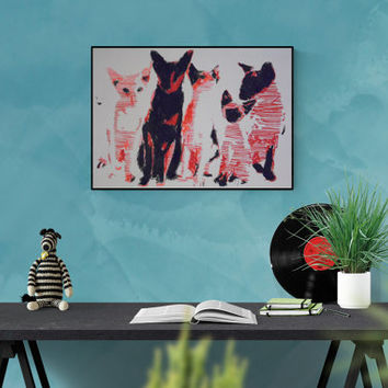 Hand made pop art illustration: Siam cats, original picture hand-signed, unique piece, free dispatch