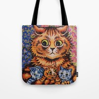 Cat and Her Kittens-Louis Wain Cats Tote Bag by digitaleffects