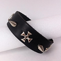 Genuine Leather Cuff Bracelet w/ Spikes & Cross Accents