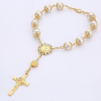 Religious ornaments religion Catholic communion cup Gift Center cross Rosary Bracelet Bead size:10MM