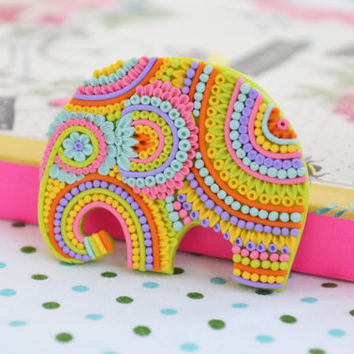Colorful elephant Filigree brooch, ooak, funny brooch, animal brooch, polymer clay jewelry, gift for her, elephant brooch, colorful jewelry