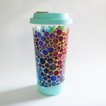 Bubbles Travel Mug Hand painted glass Double-Walled Travel Mug Rainbow Bubbles Mug