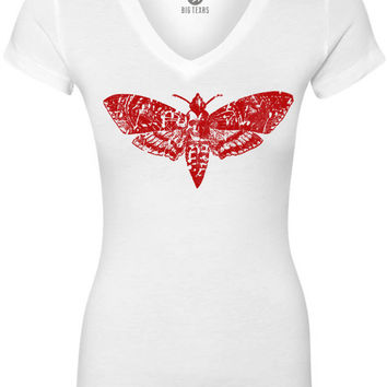 Death Moth (Red) Women's Short-Sleeve V-Neck T-Shirt