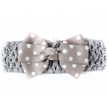 Print Dots Pinwheel Grosgrain Ribbon Bow Headband For Toddler Baby Children Knitted Stretch Turban Hair Band Hair Accessories
