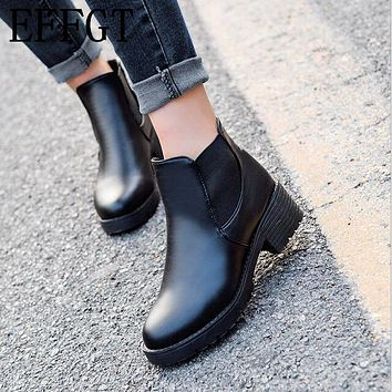 Fashion Women Ankle Boots Round Head Thick Bottom PU leather Waterproof Woman Martin Boots
