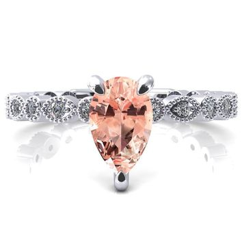 Lizette Pear Champagne Sapphire 3 Claw Prong 3/4 Eternity Milgrain Diamond Shank Engagement Ring