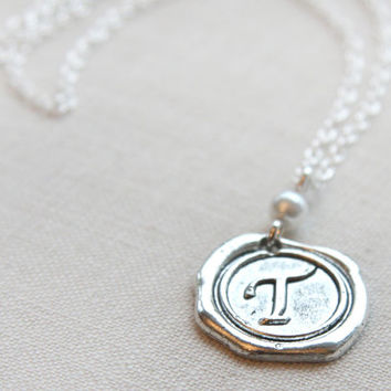 Initial Necklace, Monogram Necklace, Letter Pendant, Personalized Necklace, Letter Necklace, Bridesmaid Gift, Stamped Necklace, Wax Seal