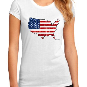 United States Cutout - American Flag Distressed Juniors Sublimate Tee by TooLoud