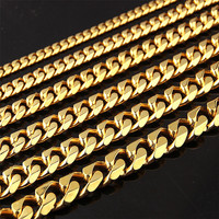 8-19mm 24in Necklaces 18k Gold Stainless Steel Necklaces Cuban Curb Link Chain