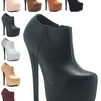 WOMENS LADIES PLAIN CONCEALED ZIP PLATFORM HIGH STILETTO HEEL SHOES BOOTS UK 3-8