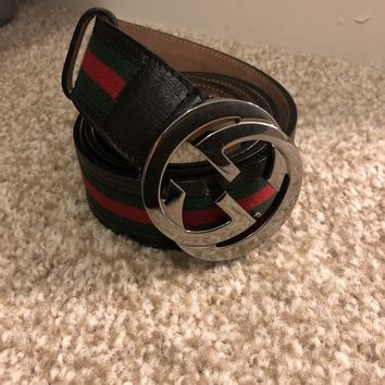 MENS GUCCI WEB RED GREEN BLACK BELT WITH G BUCKLE SIZE 95