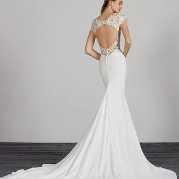 Pronovias Melva Beaded Crepe Mermaid Gown | Nordstrom