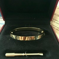 Authentic Cartier Gorgeous Love Bracelet (18K Gold) With Screw In Box, Size 17