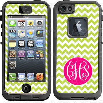 Chevron Several Color Options Monogram Vinyl Decal Made to Fit LifeProof iPhone 4 4S 5 5S Skin