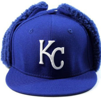 New Era Kid's Kansa City Royals Blue Dog-Ear Winter Hat size