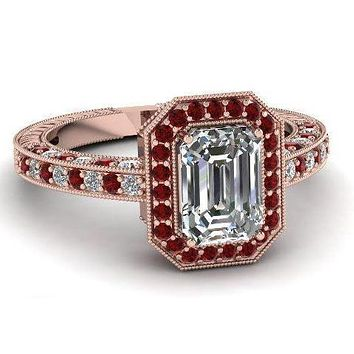14K Rose Gold 3CT Emerald Cut Russian Lab Diamond Red Ruby Halo Engagement Ring