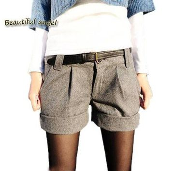 2017 Fashion autumn and winter women woolen bootcut short pants plus large big size casual shorts black and grey
