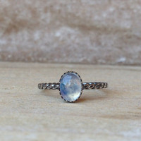Oxidised 10x14mm moonstone sterling silver ring size 8.5 ready to ship only 1 available