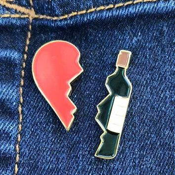 Wine is my Best Friend two-piece Enamel Pin Set