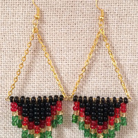 Rasta Chevron Bead Dangling Earrings