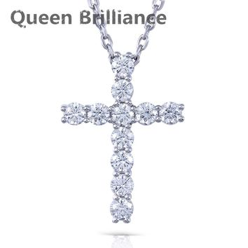 Platinum Plated 925 Sterling Silver 1.1 Ct Lab Grown Moissanite Diamond Cross Pendant Necklace