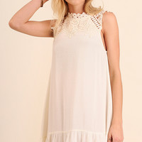 Ivory Lace Detail Sleeveless Dress