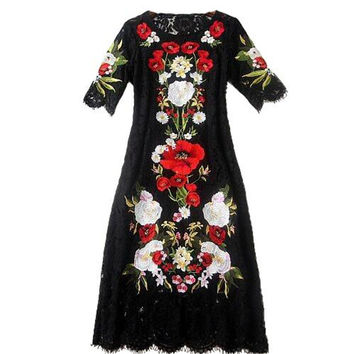 Round Collar Vintage Lace Embroidery Dress