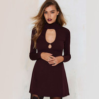 Maroon Cut Out Front Long Sleeve Bodycon Dress