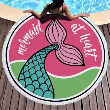Large Microfiber Round Beach Towel Mermaid Tail Sea Marine Cartoon Style Circle Round Towel For Girls Women Serviette De Plage