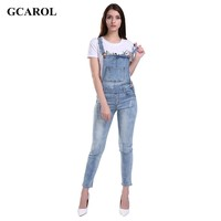 GCAROL Women Ripped Denim Jumpsuits Casual Sexy Stretch Romper Ladies'Denim Pencil Overalls For 4 season