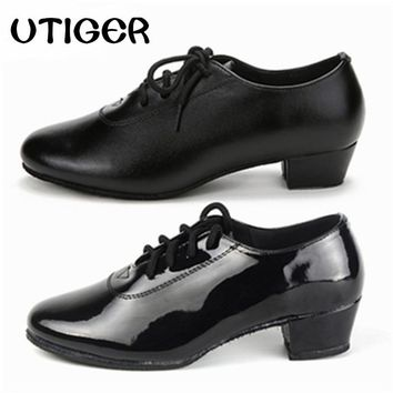 UTIGER Black Matte Men Children Boy Modern Ballroom Tango Latin Dancing Shoes Heel 3CM 4CM Women Man kid boys dance shoes WD259