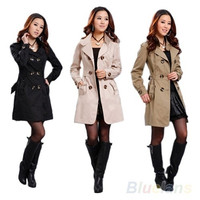 New Fashion Womens Slim Fit Trench Double-breasted Coat Jacket Outwear, Coat, jacket = 1929805188
